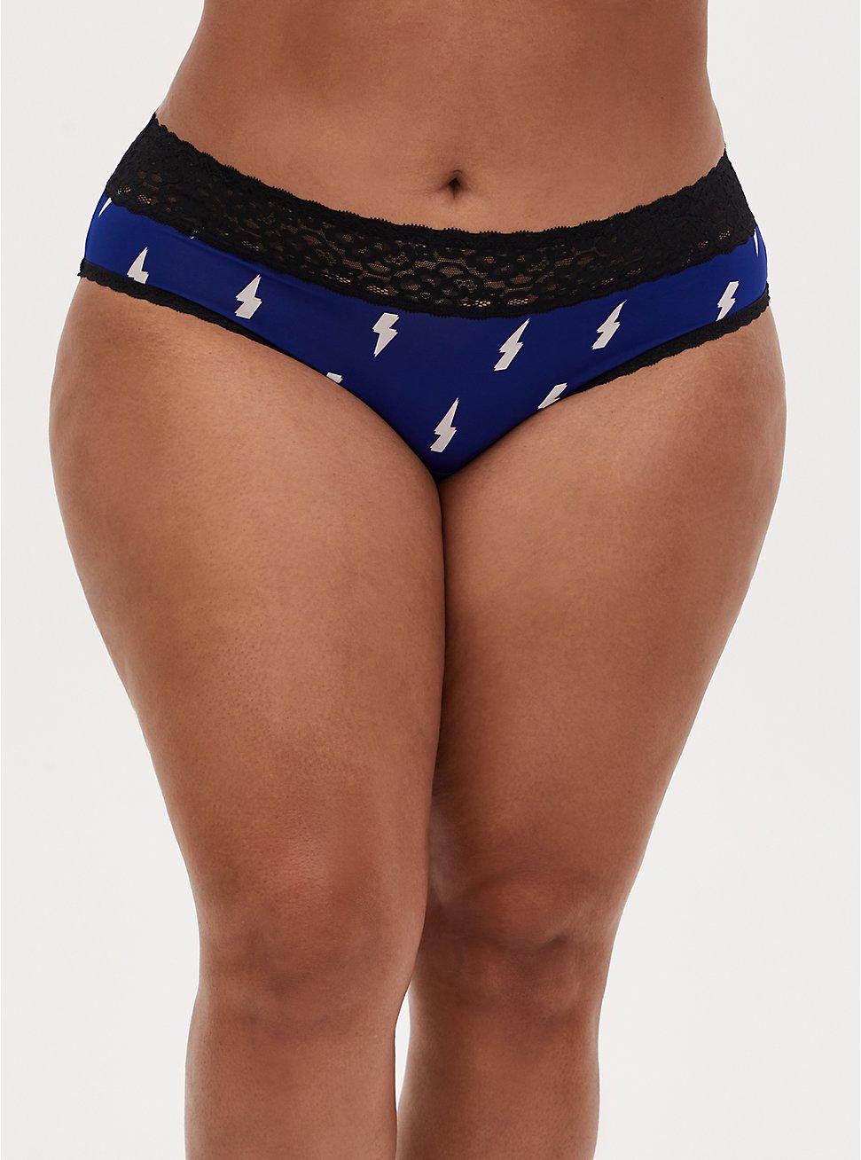 Navy Lightning Bolt & Black Second Skin Hipster Panty, DEEP WATERS BLUE, hi-res