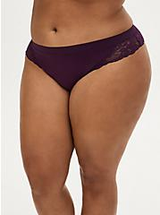 Grape Purple Lace Seamless Thong Panty, DEEP SPACE PURPLE, hi-res
