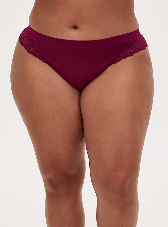 Berry Pink Lace Inset Seamless Thong Panty , , hi-res