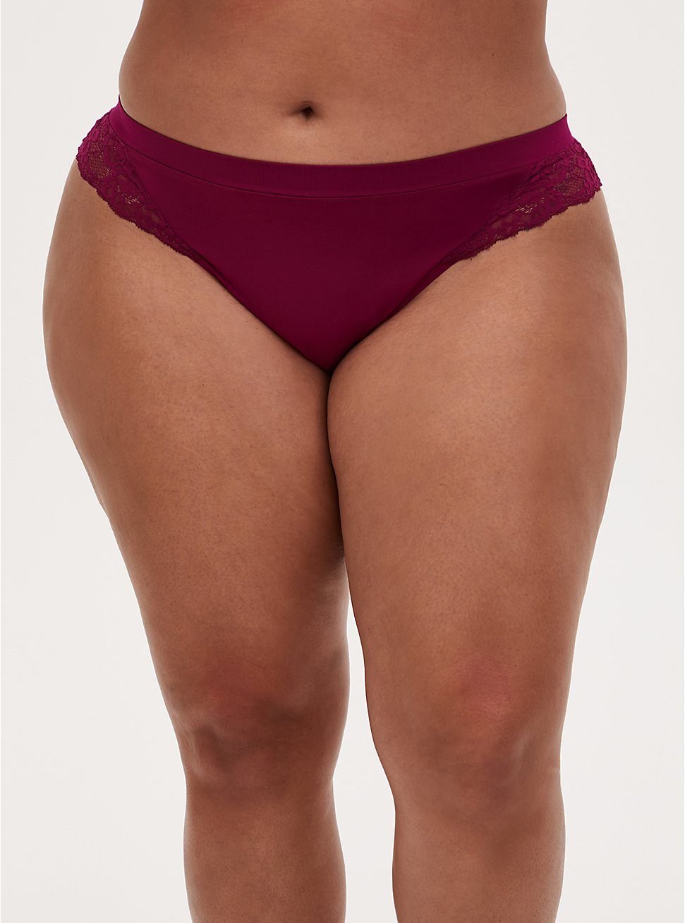Berry Pink Lace Inset Seamless Thong Panty , NAVARRA, hi-res