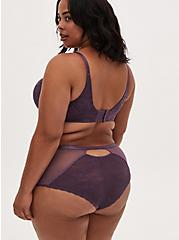 Vintage Purple Mesh & Lace Keyhole Back Cheeky Panty, VINTAGE VIOLET, alternate