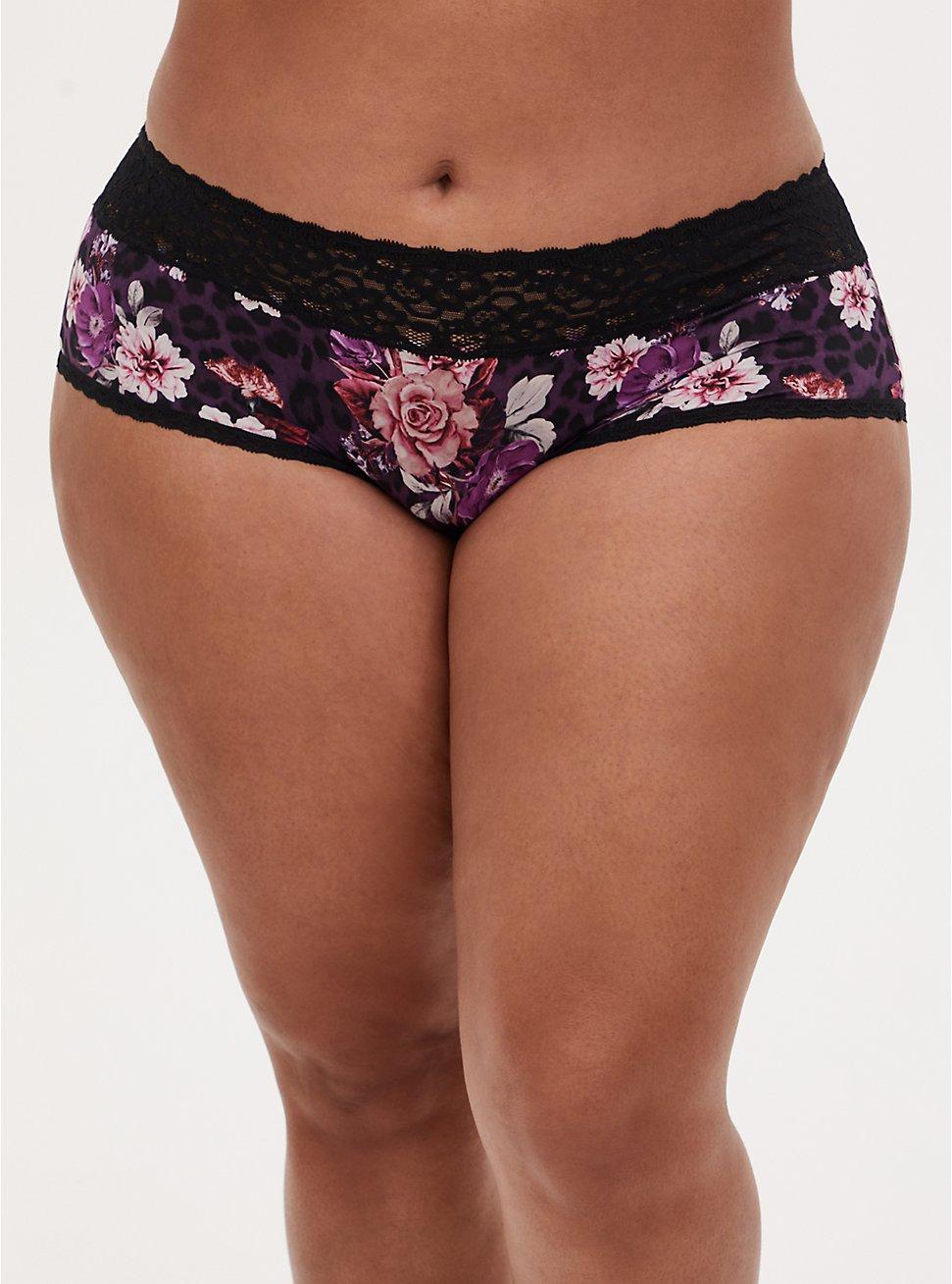 Purple Leopard Floral Second Skin Cheeky Panty , LEOPARD FLORAL PURPLE, hi-res
