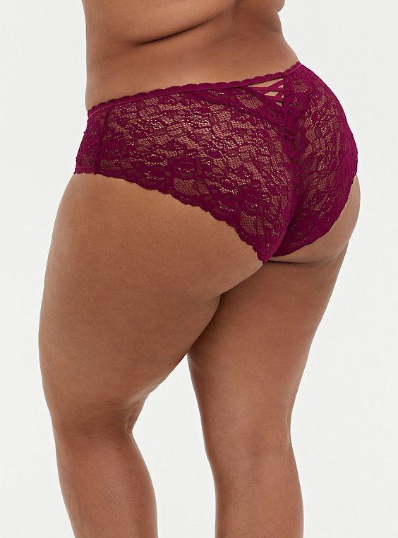 Berry Pink Super Soft Microfiber & Lace Back Hipster Panty , , hi-res
