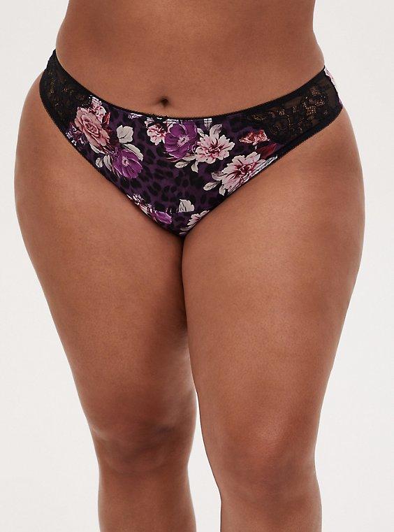 Purple Leopard Floral Microfiber Lace Inset Thong Panty , LEOPARD FLORAL PURPLE, hi-res
