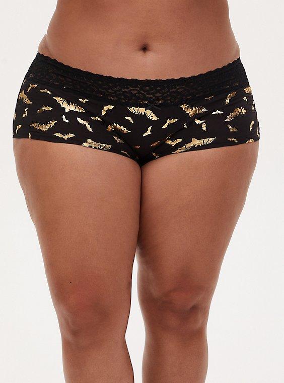 Gold Bat & Black Wide Lace Cotton Boyshort Panty , , hi-res