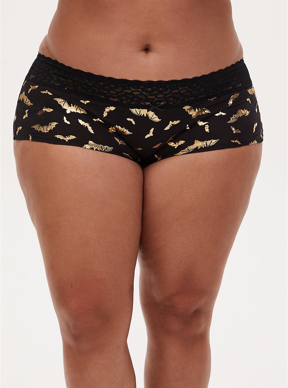 Gold Bat & Black Wide Lace Cotton Boyshort Panty , FLYING BATS, hi-res