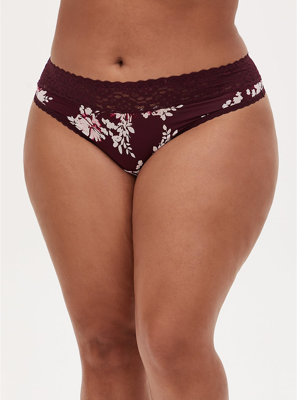 Burgundy Purple Floral Second Skin Thong Panty , WINETASTING, hi-res