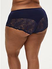 Navy Microfiber Lace Back Brief Panty , PEACOAT, alternate