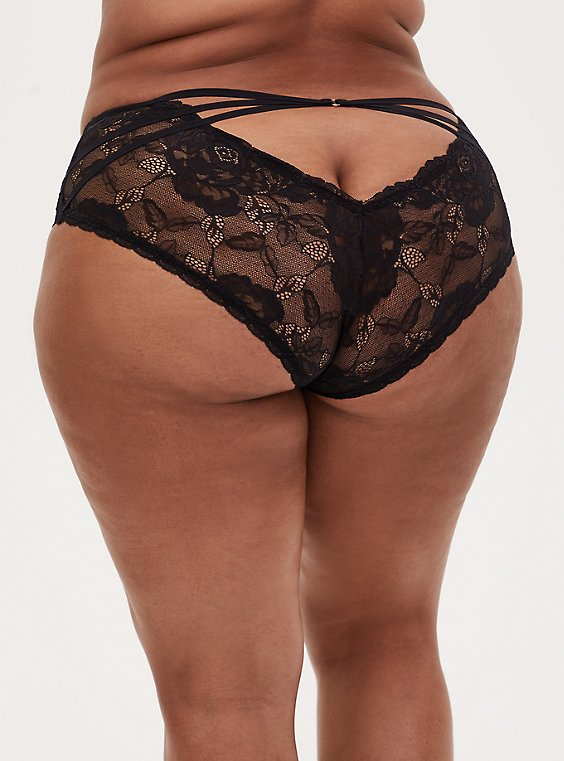 Black Lace Cage Back Hipster Panty , RICH BLACK, hi-res