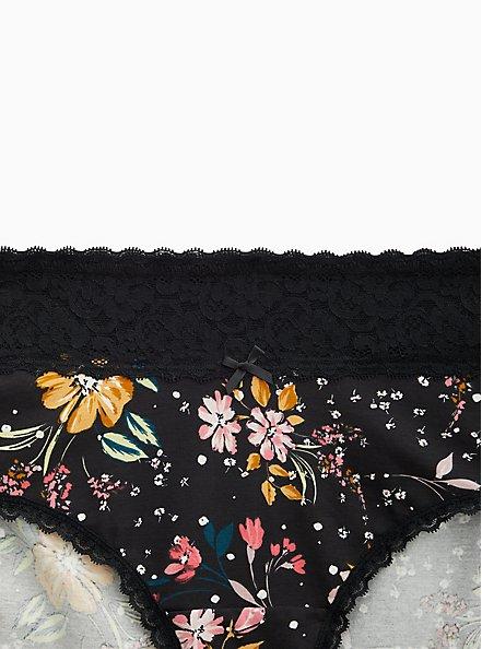 Plus Size Black Floral Wide Lace Cotton Cheeky Panty, PARTY FLORAL BLACK, alternate