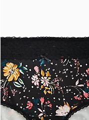 Plus Size Black Floral Wide Lace Cotton Brief Panty, PARTY FLORAL BLACK, alternate