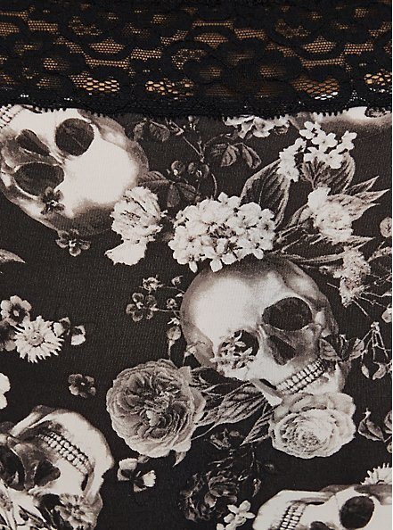 Black Skull Floral Wide Lace Second Skin Cheeky Panty , ALLOVER BOUQUET SKULLS BLACK, alternate