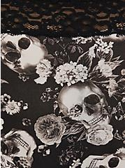 Black Skull Floral Wide Lace Shine Cheeky Panty , ALLOVER BOUQUET SKULLS BLACK, alternate