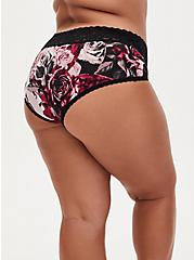 Black & Red Rose Second Skin Cheeky Panty , TORN ROSE FLORAL BLACK, alternate