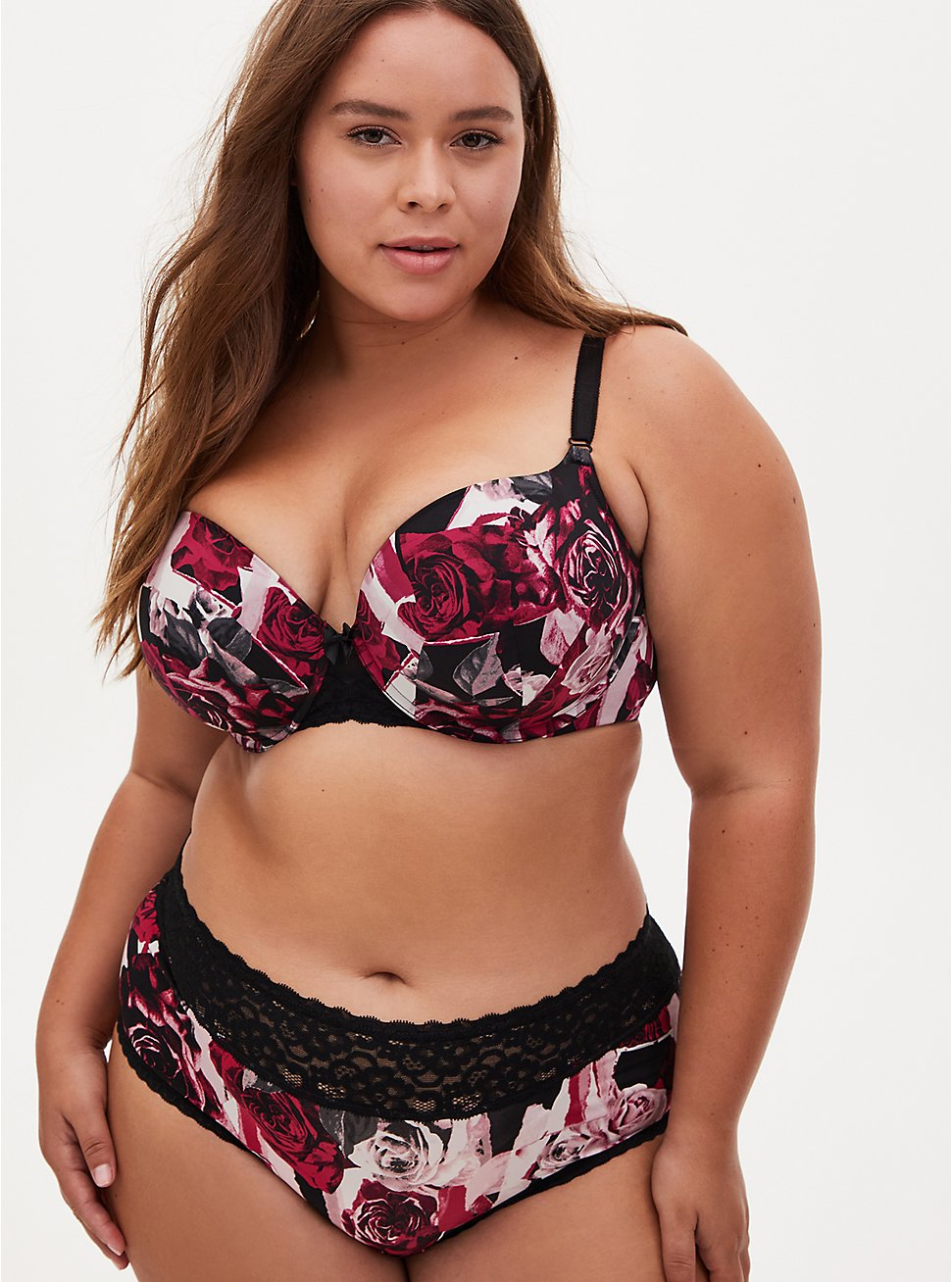 Floral 360° Back Smoothing™ Push-Up T-Shirt Bra and Cheeky Panty, , hi-res