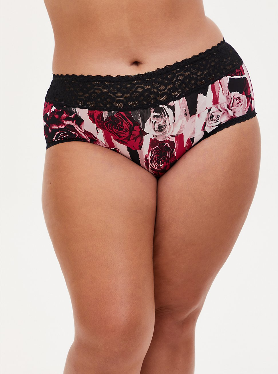 Black & Red Rose Second Skin Cheeky Panty , TORN ROSE FLORAL BLACK, hi-res