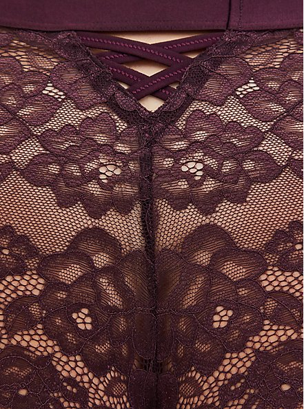 Grape Purple Lace Lattice Cheeky Panty , GRAPE SEED, alternate