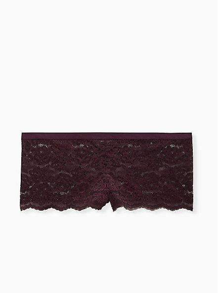 Grape Purple Lace Lattice Cheeky Panty , GRAPE SEED, hi-res