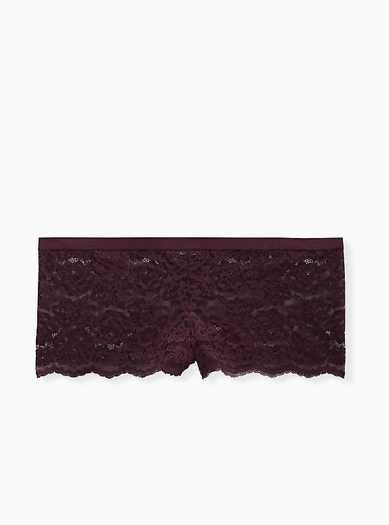Grape Purple Lace Lattice Back Cheeky Panty , , flat