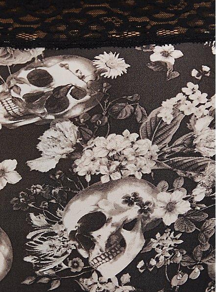 Black Skull Floral Wide Lace Shine Brief Panty , ALLOVER BOUQUET SKULLS BLACK, alternate