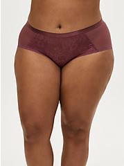 Mauve Purple Lace & Mesh Keyhole Cheeky Panty, DRIED CRANBERRY BURGUNDY, alternate
