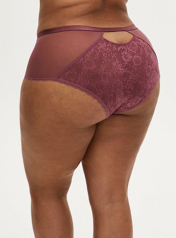 Mauve Purple Lace & Mesh Keyhole Cheeky Panty, , hi-res