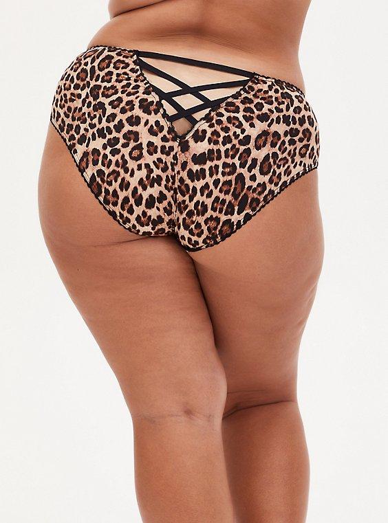 Leopard Microfiber Cage Back Hipster Panty , , hi-res