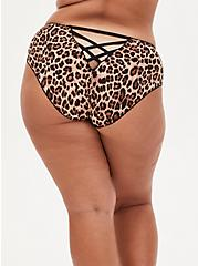 Leopard Microfiber Cage Back Hipster Panty , FIFTIES LEOPARD BEIGE, hi-res