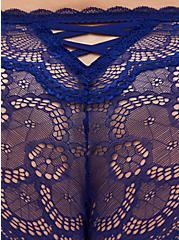 Super Soft Microfiber & Lace Blue Lattice Back Hipster Panty , DEEP WATERS BLUE, alternate
