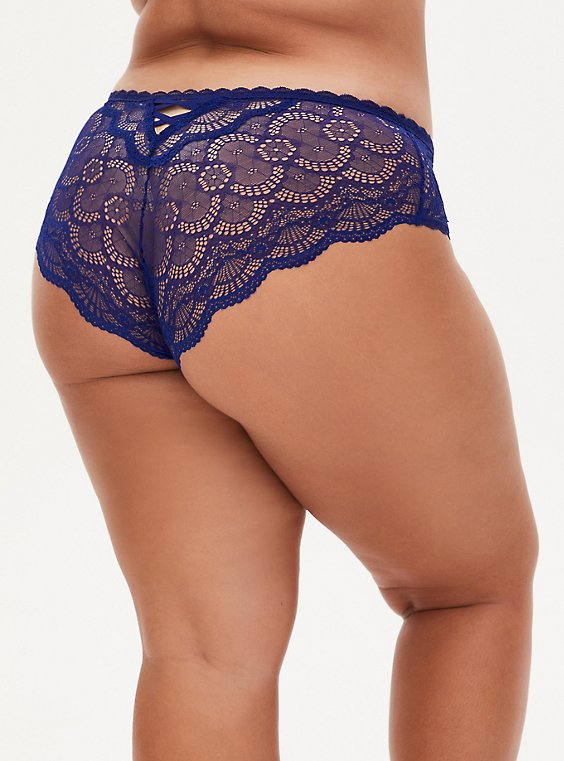 Super Soft Microfiber & Lace Blue Lattice Back Hipster Panty , DEEP WATERS BLUE, hi-res