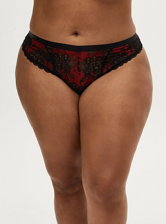 Red & Black Lace Mesh Inset Thong Panty , JESTER RED WITH BLACK, hi-res