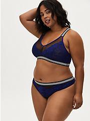 Black Mesh & Sapphire Blue Lace Stripe Trim Thong Panty, DEEP WATERS BLUE, alternate