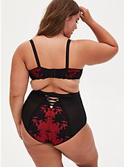 Red Lace & Black Mesh High Waist Panty , JESTER RED WITH BLACK, alternate