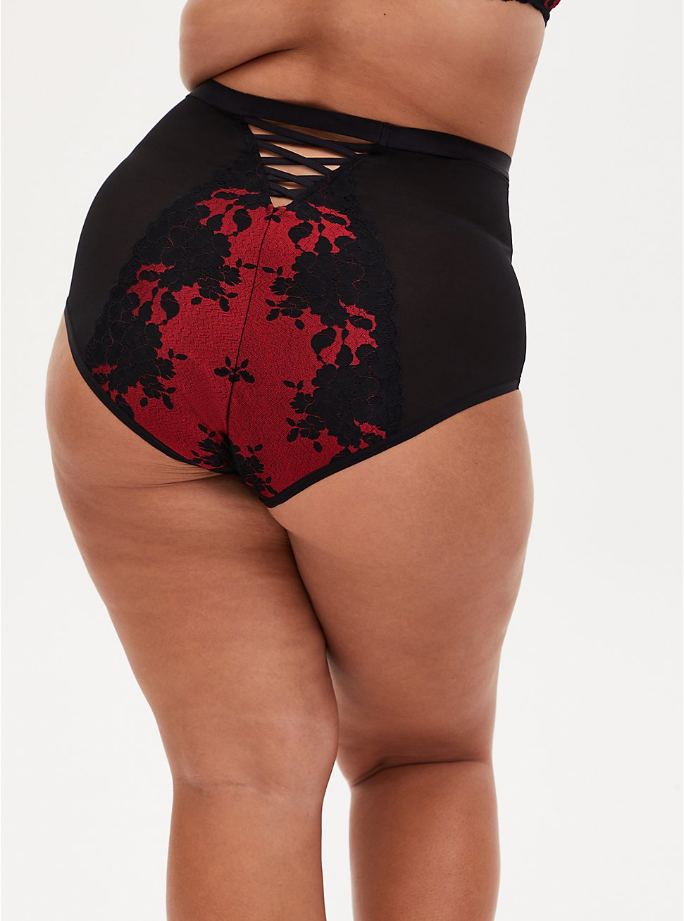 Red Lace & Black Mesh High Waist Panty , JESTER RED WITH BLACK, hi-res