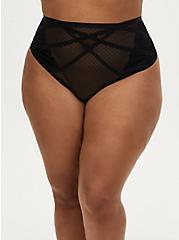 Black Swiss Dot & Lace Cutout Back High Waist Thong Panty , RICH BLACK, hi-res