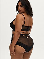 Dot Mesh & Lace Strappy Caged High Waist Brief Panty, RICH BLACK, alternate