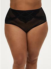 Dot Mesh & Lace Strappy Caged High Waist Brief Panty, RICH BLACK, hi-res
