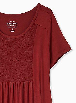Super Soft Brick Red Smocked Top, MADDER BROWN, alternate