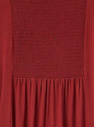 Plus Size Super Soft Brick Red Smocked Top, MADDER BROWN, alternate