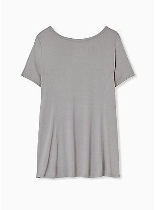 Super Soft Grey Smocked Top, FROST GRAY, alternate