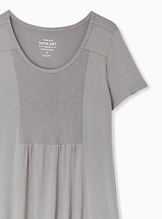 Plus Size Super Soft Grey Smocked Top, FROST GRAY, alternate