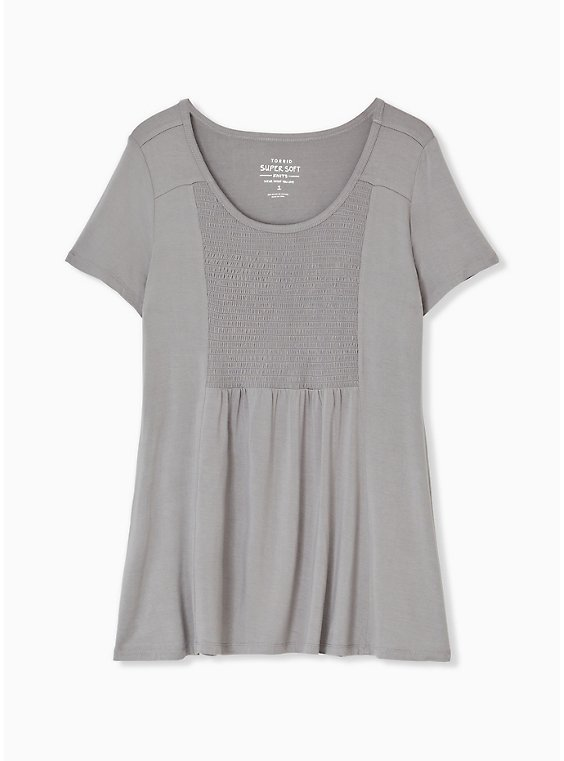 Super Soft Grey Smocked Top, FROST GRAY, hi-res