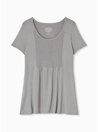 Plus Size Super Soft Grey Smocked Top, FROST GRAY, hi-res