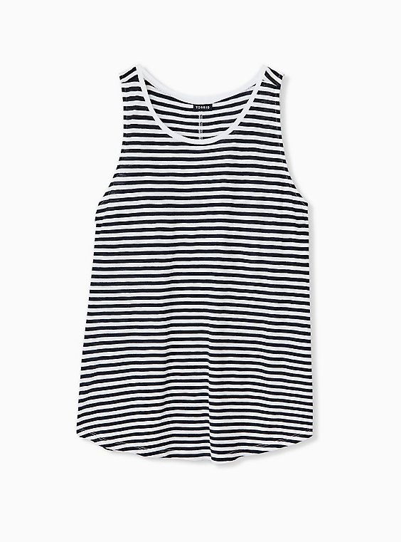 Plus Size Black & White Stripe Heritage Slub Tank, , hi-res
