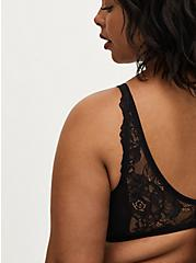 Black Lace Strappy Unlined Demi Bra , RICH BLACK, alternate