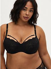 Black Lace Strappy Unlined Demi Bra , RICH BLACK, hi-res