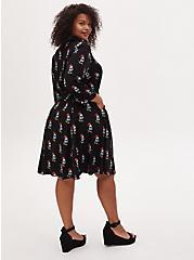 Disney Minnie Mouse Black Challis Self Tie Shirt Dress, MINNIE, alternate