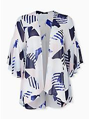 White & Navy Geo Chiffon Bell Sleeve Hi-Lo Kimono, GEO - WHITE, alternate