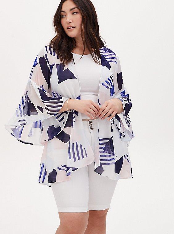 Plus Size White & Navy Geo Chiffon Bell Sleeve Hi-Lo Kimono, , hi-res