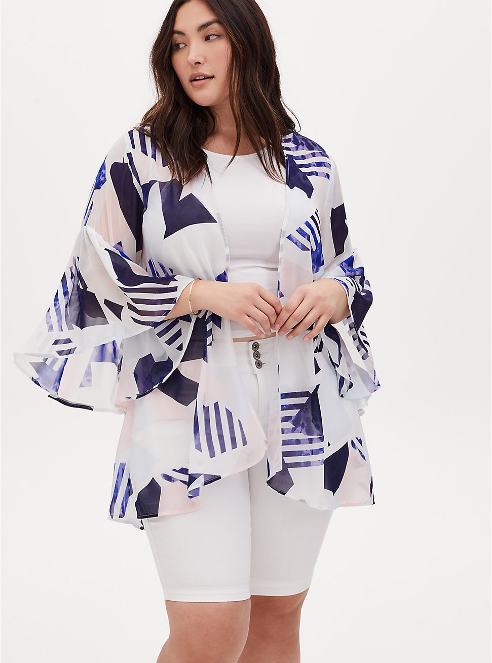 White & Navy Geo Chiffon Bell Sleeve Hi-Lo Kimono, GEO - WHITE, hi-res